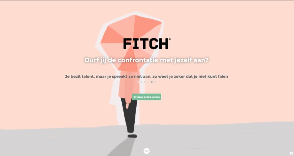 screenshot van de homepagina van fitch. Fitch durf jij de confrontatie met jezelf aan?