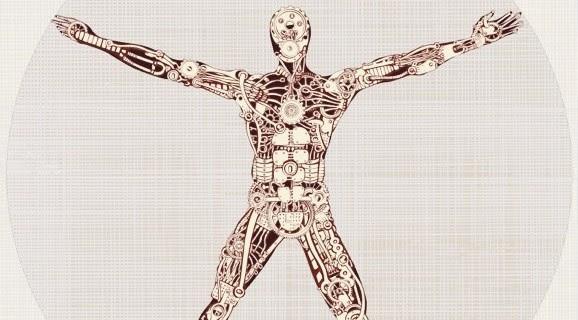 afbeelding van een  davinci poppetje maar hij is afbeeld als een machine