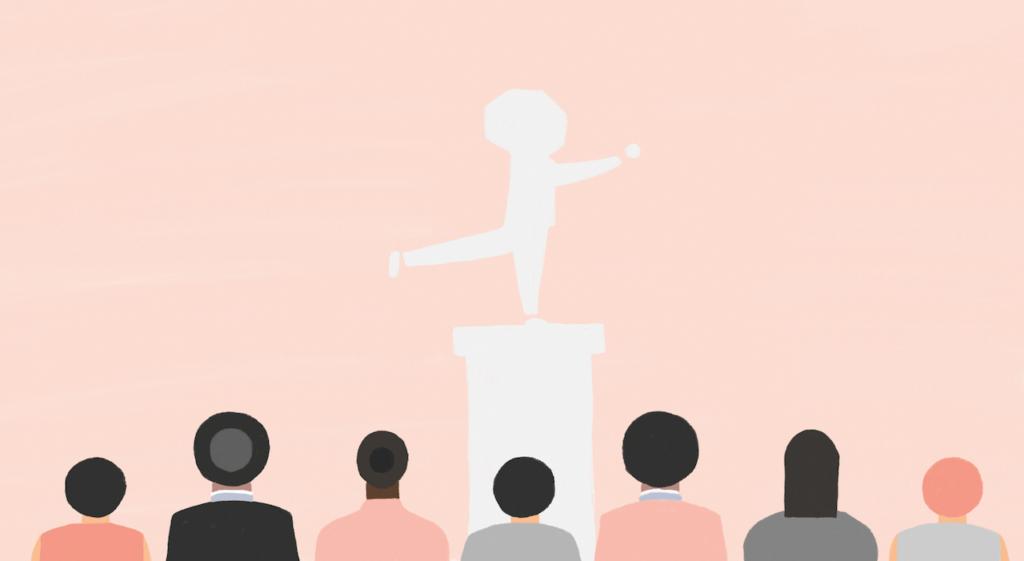 Fitch animatie waarbij personen kijken naar een beeld (david) van een fitch poppetje