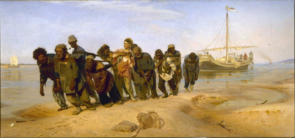 Schilderij de wolgaslepers van de Russische kunstschilder Ilja Repin