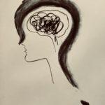 Tekening van een hoofd met een groot vraagteken en zwarte krabbels in de hersenen.