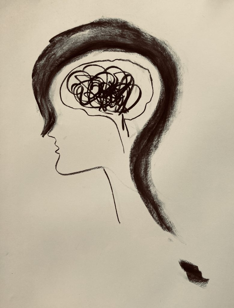 een tekening van een zijkant van een hoofd met daarin zwarte krabbels en warrige rondjes.